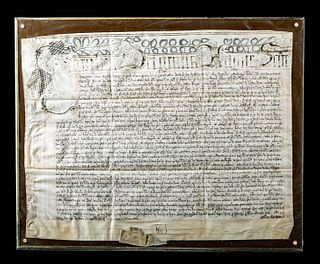 Framed 1665 English Latin Court Hand Parchment Document