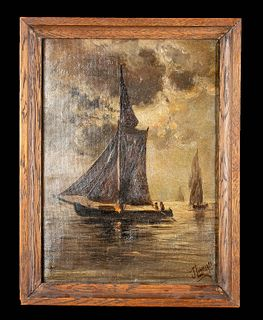 Signed 19th C. Dutch Painting - Seascape