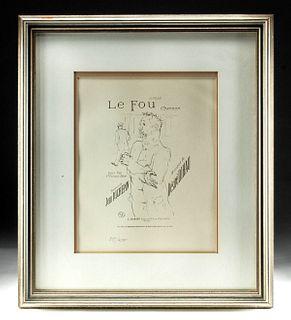 """Framed Posthumous Toulouse-Lautrec Lithograph  """"Le Fou"""""""