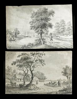 2 Signed Antique European Ink Drawings, 1908