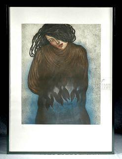 """1989 Lucia Maya Etching w/ Aquatint """"Recuerdos de Sal"""""""