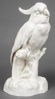 German Blanc de Chine Porcelain Cockatoo
