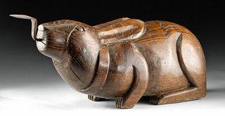 Antique Thai Wood & Iron Coconut Grater - Rabbit Form