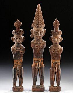 Early 20th C. Nias Islands Wood Adu Zatua Figures