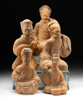 5 Chinese Tang Seated Tomb Attendants TL Tested