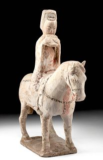Chinese Tang Dynasty Polychrome Horse and Rider