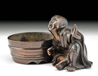 Japanese Meiji Period Bronze Netsuke - Child w/ Tub