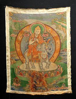 19th C. Tibetan Dazi Silk Thangka - Tsongkhapa