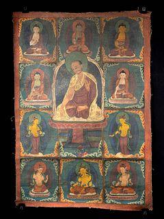 Vintage Tibetan Thangka - Lama & Deities