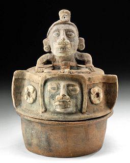 Maya Pottery Lidded Cache Vessel w/ Deity