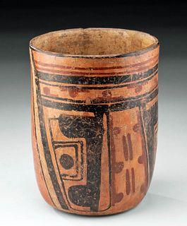 Maya Polychrome Cylinder Vessel w/ Glyphs