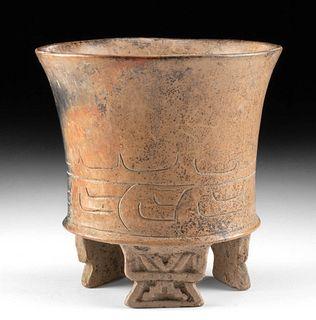 Maya Pottery Tripod Jar w/ Incised Motifs