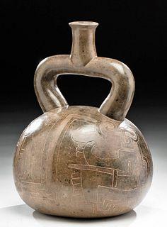 Chavin Pottery Incised Stirrup Vessel - Jaguar / Human