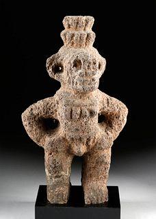 Costa Rican Volcanic Stone Figure - Man / Croc Head