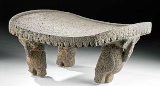 Rare Costa Rican Stone Metate w/ Owl Legs