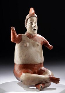 Nayarit San Sabastian Bi-Chrome Seated Warrior Figure