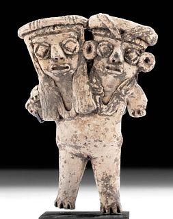 Rare Michoacan Pottery Two Headed Pregnant Pretty Lady