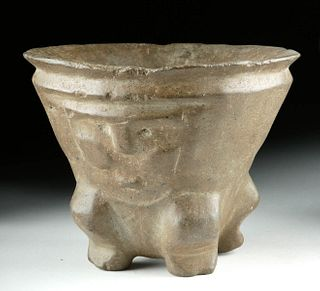 Rare La Aguada Stone Bowl w/ Trophy Heads
