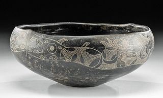 Rare Aguada Incised Pottery Bowl w/ Serpents