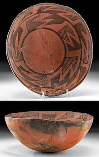 Prehistoric Anasazi Wingate Black-on-Red Pottery Bowl