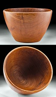 1960s Hawaiian Koa Wood Bowl Signed K. M.