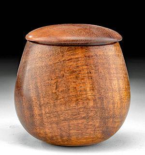 20th C. Hawaiian Koa Wood Lidded Cup - Dan DeLuz