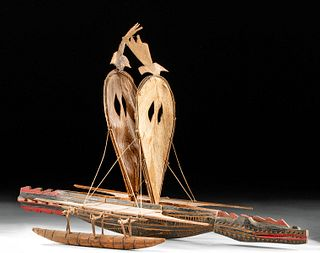 20th C. Papua New Guinea Wood Canoe Model - Crocodile