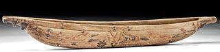 19th C. Melanesian Wood Canoe Model - Fish & Sun Motifs