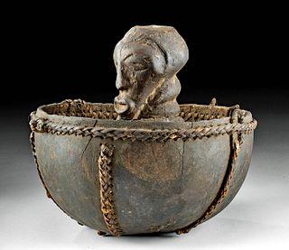 20th C. Songye Wood, Calabash, Fiber Divination Figure