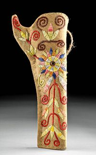 20th C. American Leather and Fiber Embroidered Holster