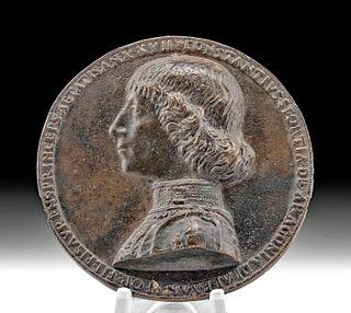 15th C. Italian Leaded Bronze Medal - Costanzo Sforza