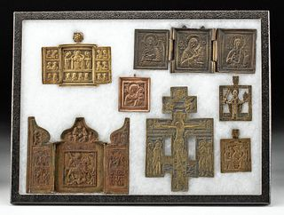 19th C. Russian Brass Icons + 3-Bar Cross (7 pcs)