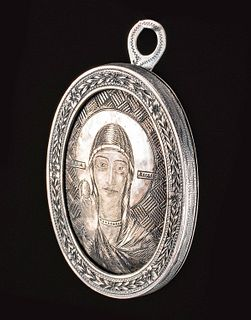 1824 Russian Silver Icon Pendant, Mary Magdalene 67.4 g