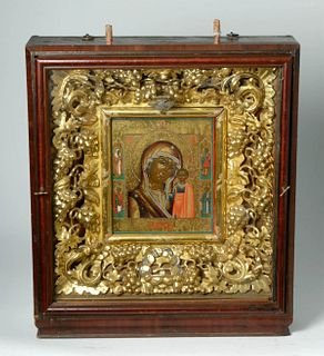 19th C. Russian Icon Gold Leaf Kiot Virgin Hodegetria