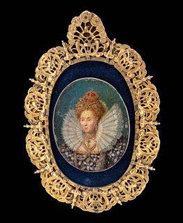 16th C. British Portrait of Royal w/ 10K+ Gold Frame