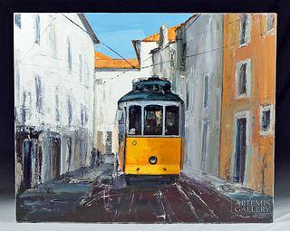 Signed French Painting Le Tram de Lisbonne G. Mortier