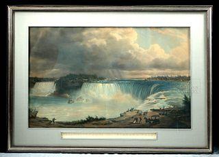 H. Sebron Engraving of Niagara Falls - 1852 (framed)