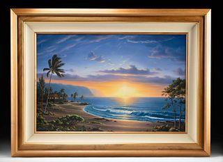 20th C. Oil Painting Alii Beach Sunset - Lance Fairly