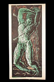 Signed Harold Schwarm Lino Print - St. Sebastian, 1951