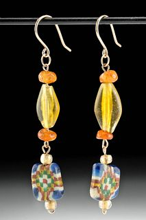 Roman / Byzantine Glass & Carnelian Bead Earrings