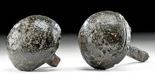 17th C. European Iron Bar Shot Cannonball Halves (pr)