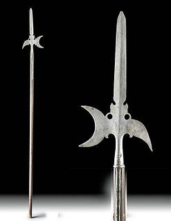 19th C. European Iron Halberd w/ Wood Pole