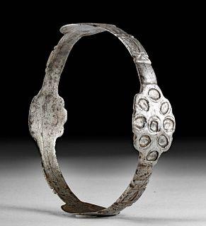 Byzantine Iron Bracelet w/ Wonderful Hammered Motifs