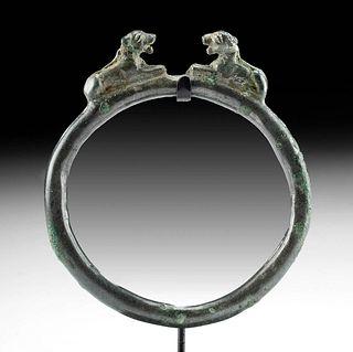 Exhibited Luristan Bronze Bracelet Lion Terminals