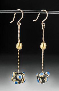Wearable Phoenician Glass Bead Earrings