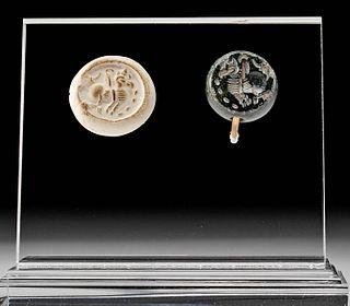 Sasanian Hematite Stamp Seal Bead w/ Griffin