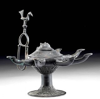 16th C. Afghanistan Leaded Brass Oil Lamp w/ 6 Spouts
