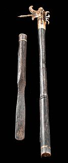 Early 20th C. Dayak Wood / Bone Tattoo Set - Dragon
