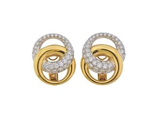 Verdura 18k Gold Platinum Diamond Earrings