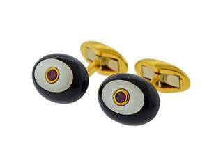 Piaget Ruby Mother of Pearl Onyx Gold Cufflinks